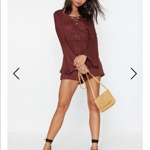 Lace-Up Early Woven Tassel Romper